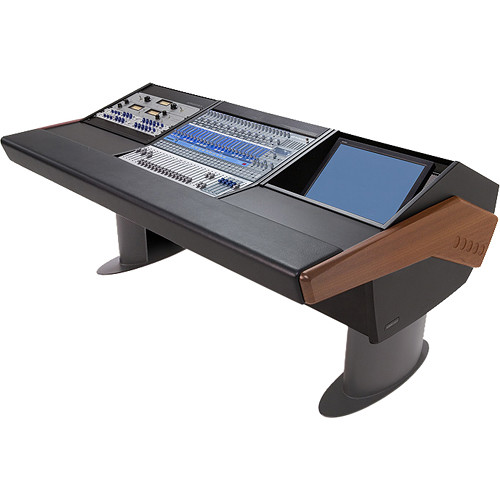 Argosy G20 Desk for Presonus StudioLive 24.4.2 Workstation with 9 RU and Monitor Bay (Mahogany Finish, Gunmetal Grey Legs)