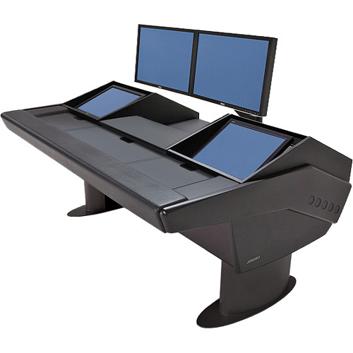 Argosy G22 Desk for Avid Artist (Euphonix) with Artist Mix 1, 2, 3, & 4 and Dual Monitor Rack (Black Finish, Black Legs)
