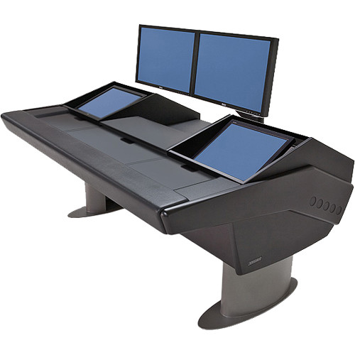 Argosy G22 Desk for Avid Artist (Euphonix) with Artist Color and Dual Monitor Rack (Black Finish, Gunmetal Gray Legs)