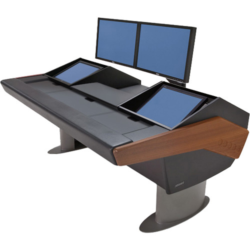 Argosy G22 Desk for Avid Artist (Euphonix) with Artist Color and Dual Monitor Rack (Mahogany Finish, Gunmetal Gray Legs)