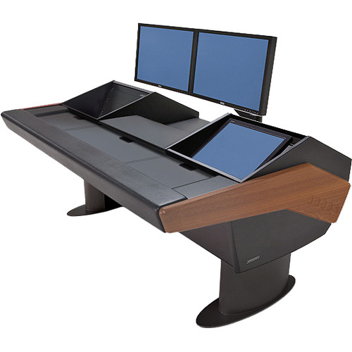Argosy G22 Desk for Avid Artist (Euphonix) with Artist Color, 6 RU, and Monitor Rack (Mahogany Finish, Black Legs)