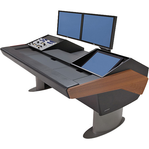 Argosy G22 Desk for Avid Artist (Euphonix) with Artist Color, 9 RU, and Monitor Rack (Mahogany Finish, Gunmetal Gray Legs)