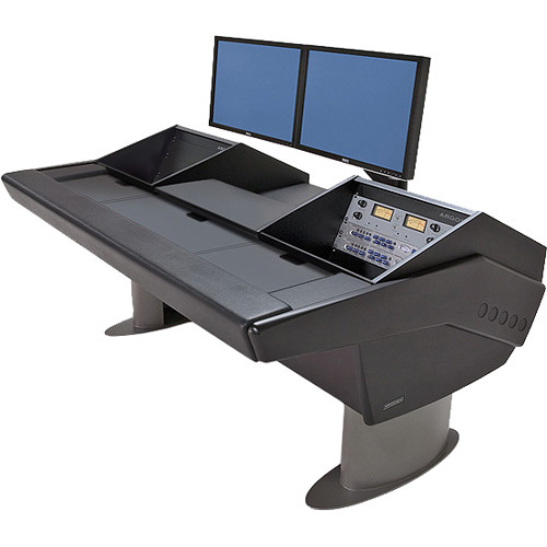 Argosy G22 Desk for Avid Artist (Euphonix) with Artist Mix 1, 2, 3, & 4 and Dual 6 RU (Black Finish, Gunmetal Gray Legs)