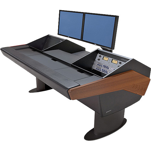 Argosy G22 Desk for Avid Artist (Euphonix) with Artist Mix 1, 2, 3, & 4 and Dual 6 RU (Mahogany Finish, Black Legs)