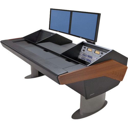 Argosy G22 Desk for Avid Artist (Euphonix) with Artist Color and Dual 6 RU (Mahogany Finish, Gunmetal Gray Legs)
