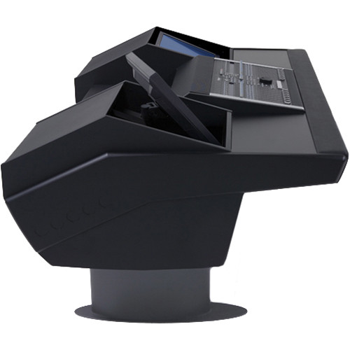 Argosy G22 Desk for Nucleus Workstation with Dual Monitor Bays (Black Finish, Gunmetal Grey Legs)