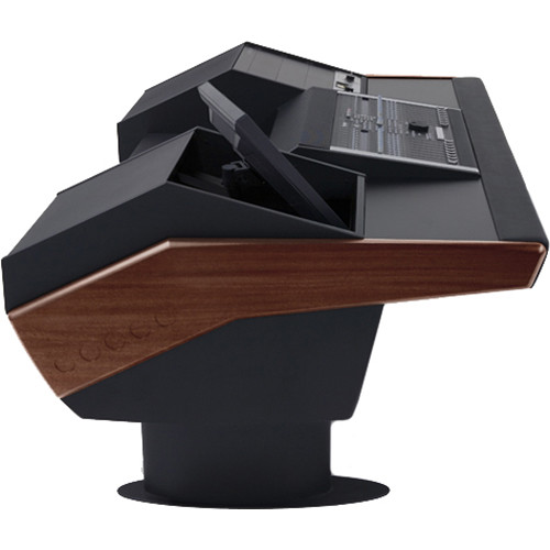 Argosy G22 Desk for Nucleus Workstation with 9 RU and Monitor Bay (Mahogany Finish, Black Legs)
