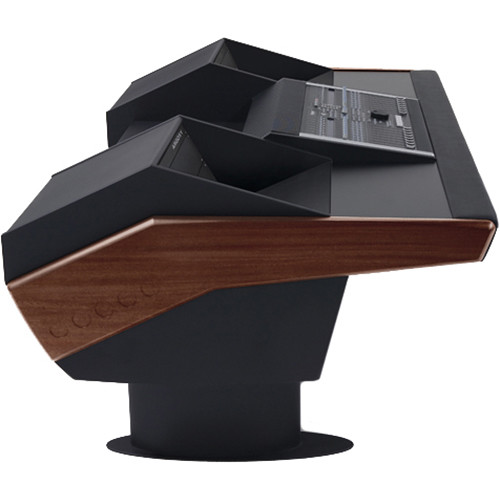 Argosy G22 Desk for Nucleus Workstation with Dual 6 RU (Mahogany Finish, Black Legs)