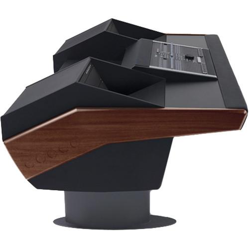 Argosy G22 Desk for Nucleus Workstation with Dual 6 RU (Mahogany Finish, Gunmetal Grey Legs)