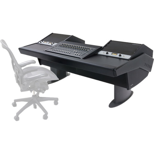 Argosy G22 Desk for Avid S3 Workstation with Dual 6 RU Racks (Black Finish, Gunmetal Gray Legs)