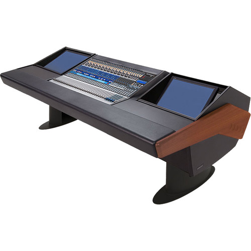 Argosy G25 Desk for Presonus StudioLive 32.4.2AI Workstation with Two Monitor Racks (Mahogany Finish, Black Legs)