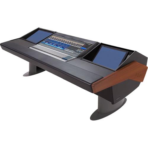 Argosy G25 Desk for Presonus StudioLive 32.4.2AI Workstation with Two Monitor Racks (Mahogany Finish, Gunmetal Gray Legs)