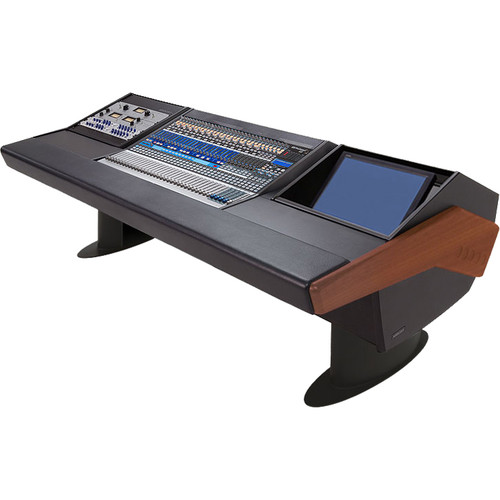 Argosy G25 Desk for Presonus StudioLive 32.4.2AI Workstation with 9 RU and Monitor Rack (Mahogany Finish, Black Legs)