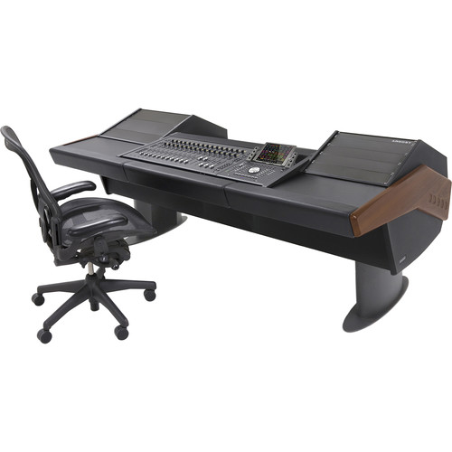 Argosy G30 Desk with Two 6 RU Spaces for Avid S3 Control Surface & Dock (Mahogany Hardwood, Gunmetal Gray Legs)