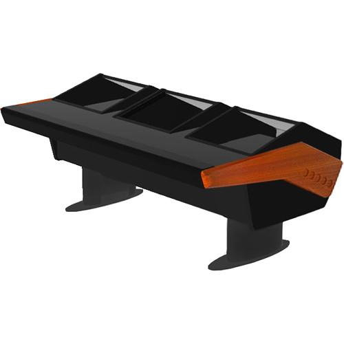 Argosy GV22 Universal Workstation Desk with Dual Monitor Racks and 6 RU (Mahogany Finish, Gunmetal Gray Legs)