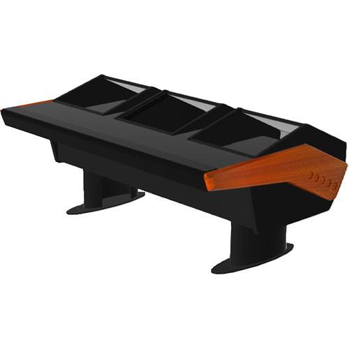 Argosy GV22 Universal Workstation Desk with Dual Monitor Racks and 9 RU (Mahogany Finish, Black Legs)