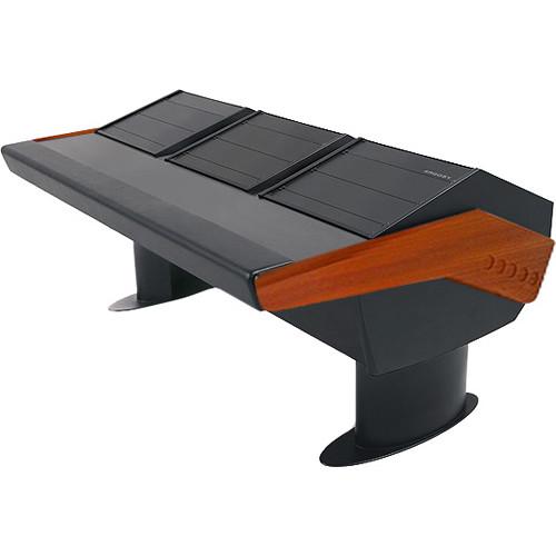 Argosy GV22 Universal Workstation Desk with Three 9 RU (Mahogany Finish, Black Legs)