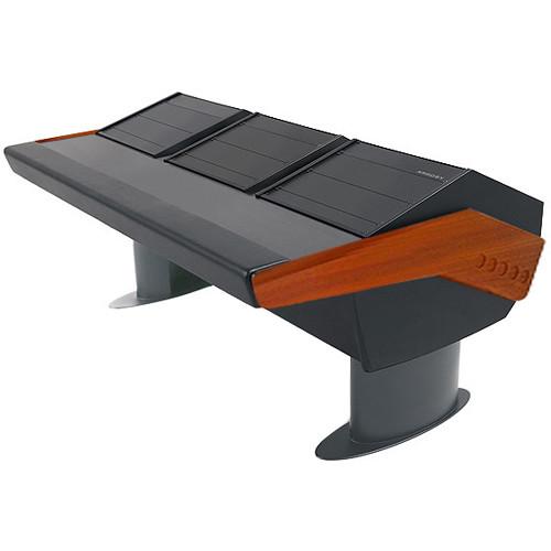 Argosy GV22 Universal Workstation Desk with Three 9 RU (Mahogany Finish, Gunmetal Gray Legs)