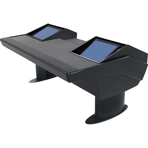 Argosy GV22 Universal Workstation Desk with Dual Monitor Racks (Black Finish, Black Legs)