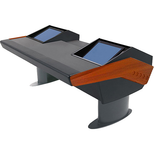 Argosy GV22 Universal Workstation Desk with Dual Monitor Racks (Mahogany Finish, Gunmetal Gray Legs)