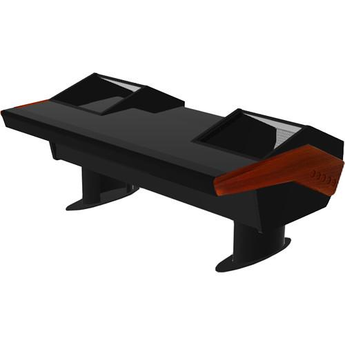 Argosy GV22 Universal Workstation Desk with Monitor Rack and 6 RU (Mahogany Finish, Black Legs)