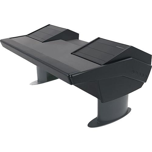 Argosy GV22 Universal Workstation Desk with Dual 6 RU (Black Finish, Gunmetal Gray Legs)