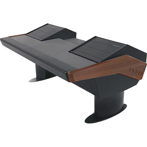 Argosy GV22 Universal Workstation Desk with Dual 6 RU (Mahogany Finish, Black Legs)