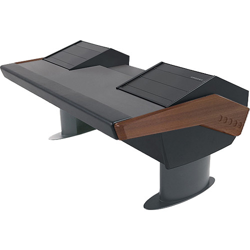 Argosy GV22 Universal Workstation Desk with Dual 9 RU (Mahogany Finish, Gunmetal Gray Legs)