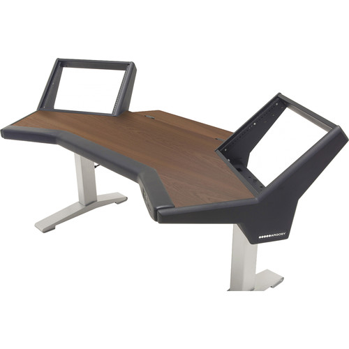 Argosy Halo Sit-Stand E2/Height Adjustable Desk/Mahogany/Black End Panels, Silver Legs
