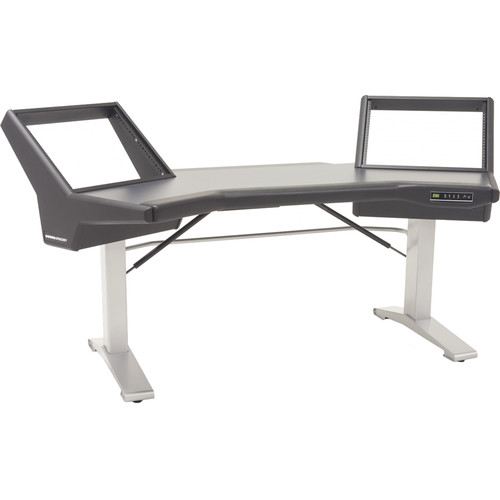 Argosy Halo Sit-Stand E2/Height Adjustable Desk/Black End Panels, Silver Legs