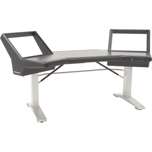 Argosy Halo Sit-Stand E2/Height Adjustable Desk/Black Traceless Top, Silver Legs