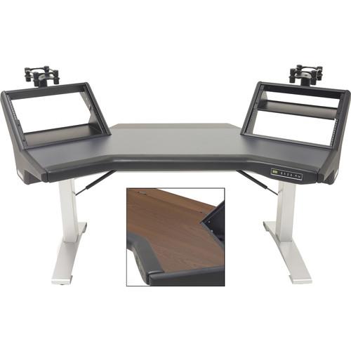 Argosy Halo Sit-Stand E2/Height Adjustable Plus/Halo E Mahogany,2-Rack Shelves,2-160 Speaker Platforms