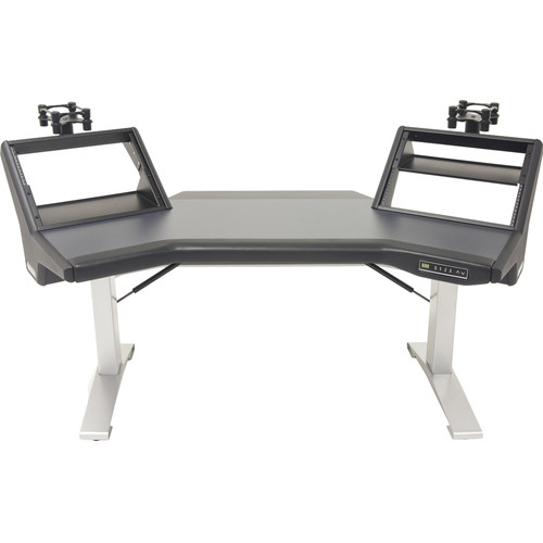 Argosy Halo Sit-Stand E2/Height Adjustable Plus/2 Rack Shelves,  Pair 160 Speaker Platforms, Black Top