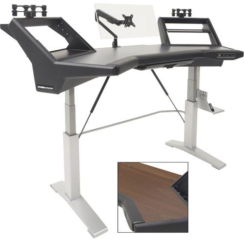 Argosy Halo Sit-Stand E2/Height Adjustable Ult/Mahogany Desk Top,2 Rack Shelves,2-160, PLUS