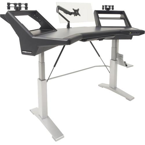 Argosy Halo Sit-Stand E2/Height Adjustable Ultimate 2 Rack Shelves, 2-160 Speaker Platforms,Black Top