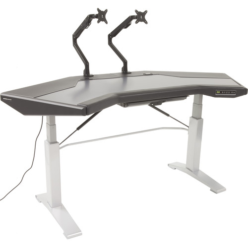 Argosy Halo.G Sit-Stand Workstation with Accessory Tray, and Two Monitor Arms