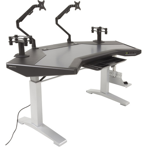 Argosy Halo.G Sit-Stand Workstation with Accessory Tray, Two Monitor Arms, Speaker Mount, and CPU Shelf