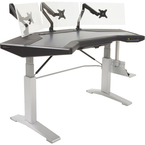 Argosy Halo G Height Adjustable Desk,Accessory Drawer,3) D8 Monitor Arms,CPU Shelf,Black Top,Silver Legs