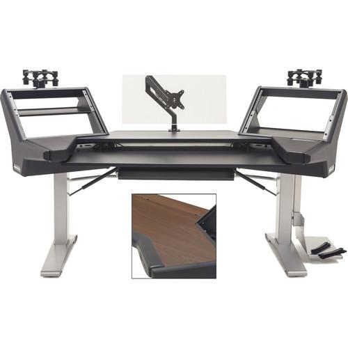 Argosy Halo Keyboard E2 Height Ult-Mahogany,2-Shelves,2-160s,Keyboasrd Tray,D8 Monitorm Arm,CPU Shelf