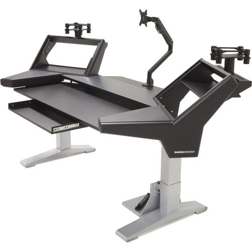 Argosy Halo K Ultimate-Black Top,2 Shelf,2-160 Speaker Platforms,Keyboard Try,D8 Monitor Arm,CPU Shelf