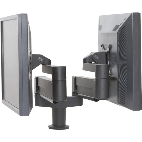 Argosy Dual Twin Independent Monitor Arm for 10 to 27.5 lb Display (Black)