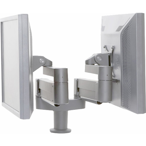 Argosy Dual Twin Independent Monitor Arm for 10 to 27.5 lb Display (Silver)