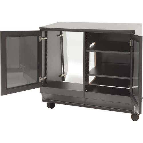Argosy Spire Rack Ultimate Package 1 Double-Bay Enclosure with Two Glass Front Doors and Wheels
