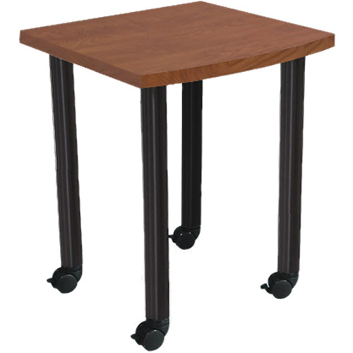 "Argosy Directors Table with Steel Legs (23.4"", Cherry Laminate, Black Powdercoated Legs)"