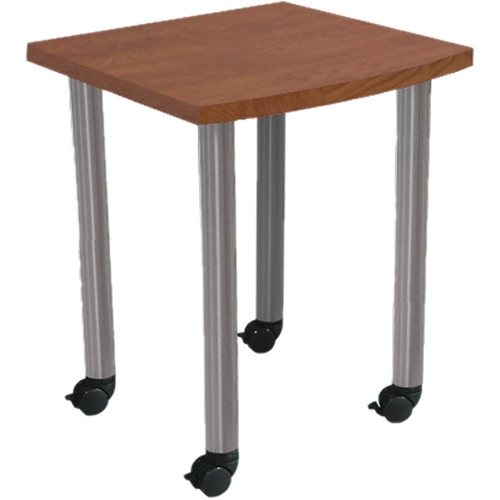 "Argosy Directors Table with Steel Legs (23.4"", Cherry Laminate, Brushed Steel Legs)"