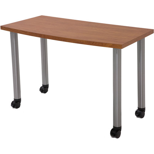 "Argosy Directors Table with Steel Legs (43.3"", Cherry Laminate, Brushed Steel Legs)"