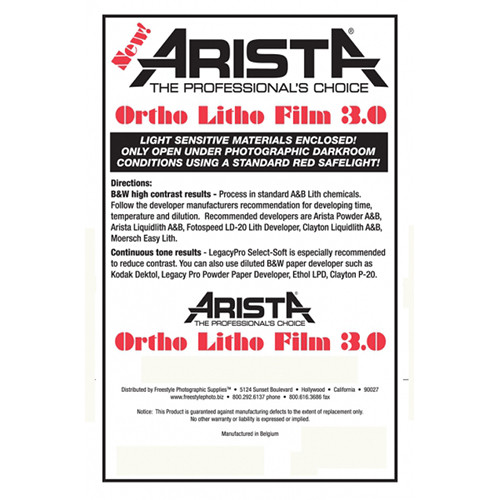"Arista Ortho Litho 3.0 Film (4 x 5"", 100 Sheets)"