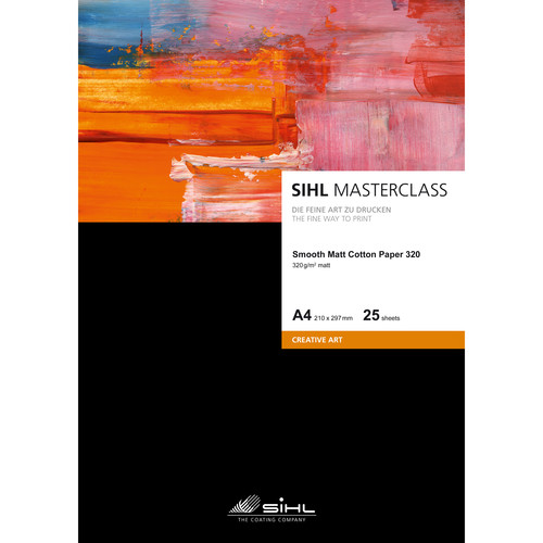 "Sihl Masterclass Smooth Matte Cotton Paper 320 (13 x 19"", 25 Sheets)"