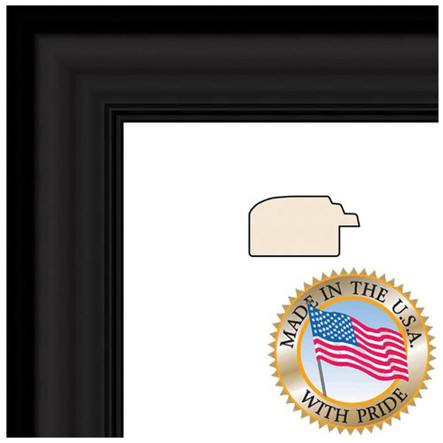 "ART TO FRAMES 1418 Satin Black Step Lip Photo Frame (8.5 x 11"", Regular Glass)"