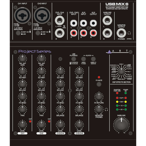 ART USBMix6 Six Channel Mixer and USB Audio Interface